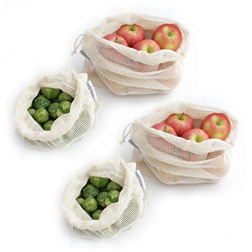 4er Set Wiederverwendbare Obst- und Gemüsebeutel aus Baumwolle von Earthtopia (2x klein, 2x groß) - Gemüsenetze Obstbeutel Einkaufsnetze