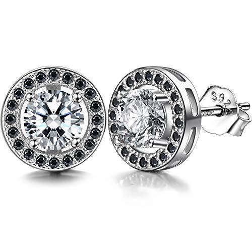 Lydreewam Damen 925 Sterling Silber Runde Zirkonia Ohrringe Ohrstecker 10mm (schwarz/weiß)