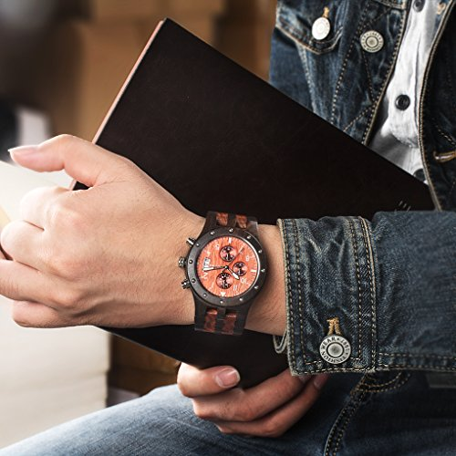Bewell Multifunktions Große Luminous Herren Holzuhr Schwarz und Rot Wasserdichte Runde Analog Quarz Business Armbanduhr mit Datum Licht Stoppuhr - 2