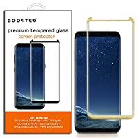 CASE FRIENDLY, Samsung Galaxy S8, BOOSTED 9H hardness Case friendy screen protector with Oleophobic Coating Anti Fingerprint Anti-Scratch High Touch Sensitivity, GOLD