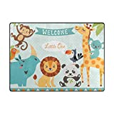 Area Rugs 63 x 48 Inch Cartoon Forest Jungle Cute Animals Personalized Non-Slip Floor Carpet Mat Doormats for Living Room Home