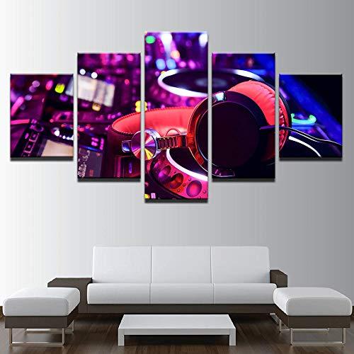 Ssckll Leinwand Gemälde Wohnkultur 5 Stücke Dj Musikinstrument Mixer Und Kopfhörer Bilder Bar Poster Nachtclub Wandkunst-Rahmenlos (Kopfhörer Dj-mixer)