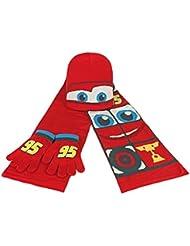 Cars 2200000351 - Set con 3 piezas con bufanda, gorro y guantes para niños, color lila, talla única