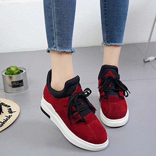 Beauty Top Sneakers Scarpe Stivali Donna Sportive Casuale morbide Scarpe Piattaforma da Ragazza Ginnastica Traspiranti Wild Flat Platform Sneakerboots Rosso