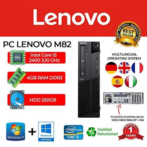 PC Lenovo M82 SFF Core I5 2400/4GB/250GB/DVD/WIN 10 Pro (reacondicionado)