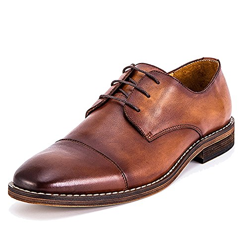 MERRYHE Vintage Handgefertigte Schnürschuhe Klassische Leder Derby Plain-Toe Formelle Kleid Schuhe Für Männer Jungen Vaters Geschenke,Brown-42 -