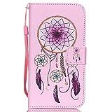 ISAKEN Galaxy S5 Mini Hülle, Folio PU Leder Flip Cover Geldbörse Ledertasche Handyhülle Tasche Case Schutzhülle mit Handschlaufe Standfunktion für Samsung Galaxy S5 Mini - Ornament Lila