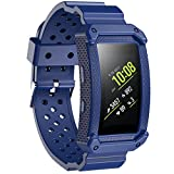 JIELIELE 2 in 1 Gear Fit 2 Armband, Perforiert Atmungsaktiv Ersatz Uhrenarmbänder Riemen mit Rahmen Fall für Samsung Gear Fit 2/Gear fit2 Pro Smart Fitness Watch (Blue)