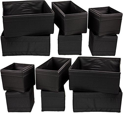 """Preisvergleich Produktbild IKEA 12-er Set Aufbewahrungsboxen """"Skubb"""" zwölf Kisten Regaleinsätze je 4 Stück in 3 versch. Größen - SCHWARZ (12er-Set, schwarz)"""