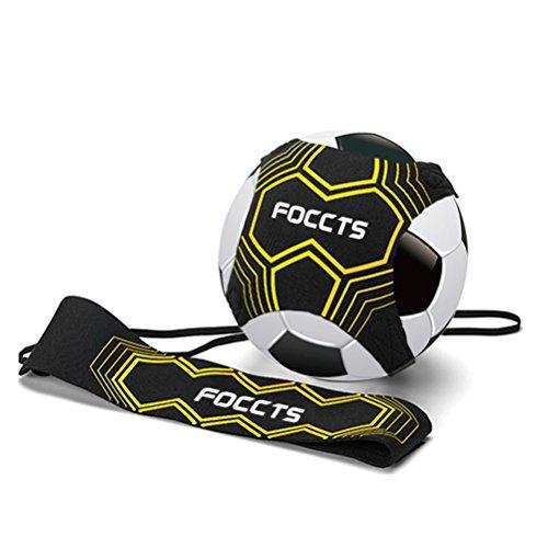 FOCCTS Star Kick Nero Trainer Banda Elastica per Allenamento di Calcio Attrezzatura per L'allenamento Individuale con Cintura Regolabilein Neoprene per Bambini e Adulti