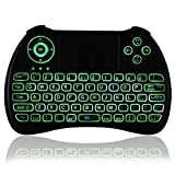 iPazzPort 2.4Ghz Mini Wireless Backlit Keyboard - Wireless Keyboard with Touchpad Mouse for Smart TV, PC, Xbox 360, PS3, Google / Android TV Box, HTPC / IPTV - Black