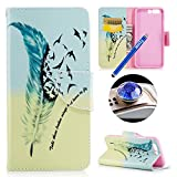 Leather Case for Huawei P10,Wallet Case for Huawei P10,Etsue Cute Feather Bird Pu Leather Magnetic Book Style Wallet Flip Protective Case with Stand for Huawei P10+Blue Stylus Pen+Bling Glitter Diamond Dust Plug(Colors Random)-Feather Bird