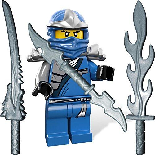 gur Jay ZX (blauer Ninja) mit LEGO Katana und 3 GALAXYARMS Schwertern (Blaue Lego Ninjago)