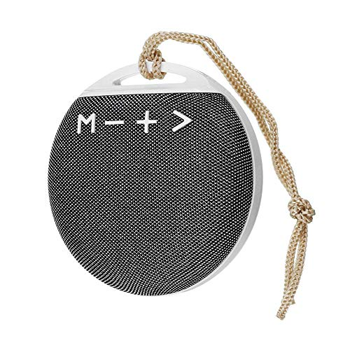 Guowy Mini Outdoor Tragbare Bluetooth-Lautsprecher-Stoff Bluetooth-Lautsprecher Rund Portable Lanyard,Silver