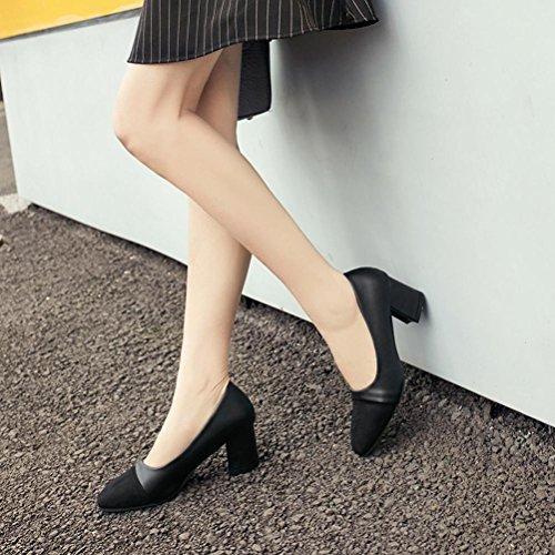 Longra Moda Donna Primavera Artificiale In Pelle Semplice Tacco Spessore Scarpe Nude Scarpe da lavoro basse Nero