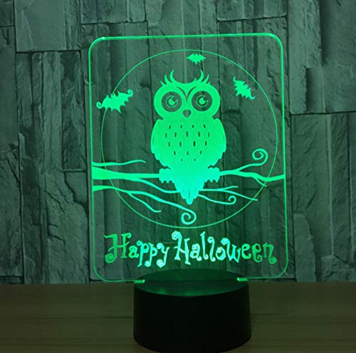 3D LED 7 colori che cambiano Happy Halloween Owl Night Light Atmosphere Table Desk Lamp Children's Bedroom Bedside Sleeping Lamp Gift