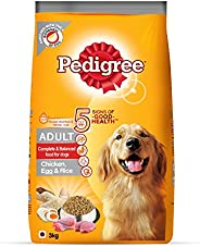 Pedigree Adult Dry Dog Food (High Protein Variant) Chicken, Egg & Rice, 3kg