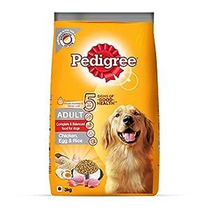 Pedigree Adult Dry Dog Food (High Protein Variant) Chicken, Egg & Rice, 3kg Pack