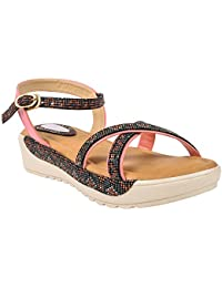 Regania Platform Heel Sandals Footwear For Women / Girl's (Pink)
