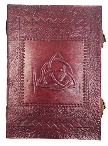 Chic & Zen–Cuaderno/bloque Note/diario, piel auténtica, Vintage, doble cierre Metal, Triquetra, 18cm * 25cm
