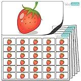 480 x Aufkleber - Erdbeere . Hochwertige selbstklebende Etiketten mit