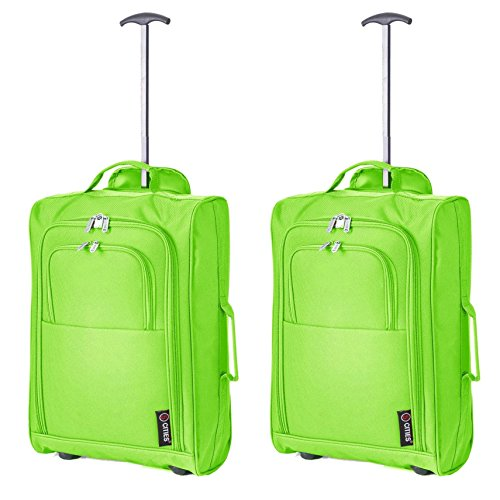 Set of 2 Super Lightweight Cabin Approved Luggage Travel Wheely Suitcase Wheeled Bags 1.65k – 42 Litres (Green)