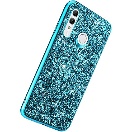 Herbests Kompatibel mit Huawei Honor 10i Handyhülle Glitzer Bling Sparkle Kristall Strass Diamant Schutzhülle Weiche TPU Bumper Silikon Hülle Case Handytasche Ultradünn Cover,Blau