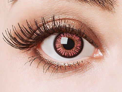aricona Farblinsen rose farbene Cosplay Kontaktlinsen – Circle Lenses in rosa, farbige Jahreslinsen, Linsen für Anime & Manga Looks, für helle & dunkle Augenfarben