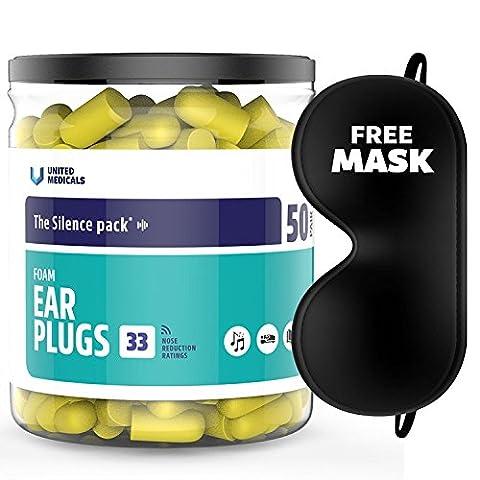 United MEDICALS Bouchons d'oreille en mousse souple Bouchons d'oreille (lot de 50) + Gratuit 3d Masque de sommeil
