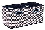 Homyfort 2 Stück faltbare aufbewahrungsbox stoffbox faltbox mit Kunststoffgriff 30 x 30 x 30 cm Grau / Weiß Zickzack XBB02P