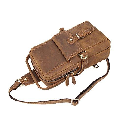 Othilar Herren Damen klein braun Leder Tasche Handtasche Schultertasche Hüfttasche Ledertasche (Braun) Braun