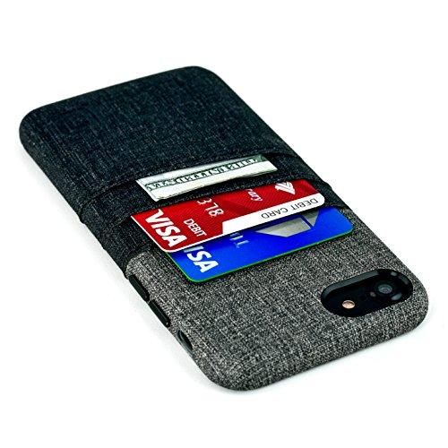 iPhone 8 und iPhone 7 Karten- und Geldbörse von Dockem: Minimalistisches Case im Geldbörsenlook, aus Synthetik-Leder, mit Segeltuch-Styling; mit Zwei Kartensteckplätzen (Schwarz und Grau) (Brown-leder-gefaltete Geldbörse -)