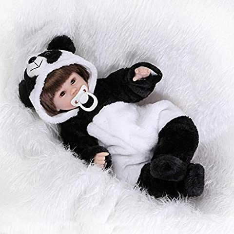 NPKDOLL Reborn Baby Doll Soft Silicone Vinyl 18inch 45cm Magnetic Mouth Lifelike Boy Girl Toy Panda Eyes Open