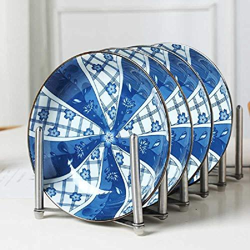 pyc88 4-Pack Keramik Besteck 7-Zoll-Teller Set Kreative Teller Nach Hause Japanische Runde Platte 4 disques de Lune de Neige fleuri par l -