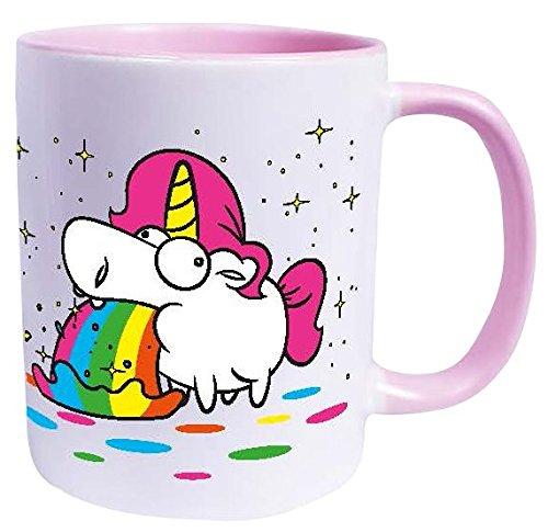 Einhorn Kotzendes Einhorn - Regenbogen Tasse weiß/rosa