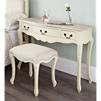 Juliette Shabby Chic Champagne Dressing Table ONLY. Stunning cream dressing table with limend finish top. Stool and Mirror NOT included.