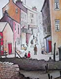 THE COLLECTION OF L S Lowry Speciality Prints and Pictures - With Protective Fine Art Coating - All on a Linen Structure Medium -16 x 12inch (408mm x 305mm) Image - OLD TOWN RIVER SCENE - Plus Border