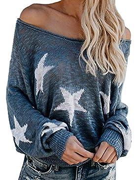 Tomwell Mujer Jerséis Moda Impresión de la Estrella Suéter Largo Casual Jersey Prendas de Punto de Cuello Barco...