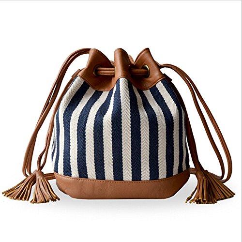BYD - Female Donna Mini secchiello Bag Rope Strap Lock Design Borse Tote Bag Fashion Printed Flower Bianco