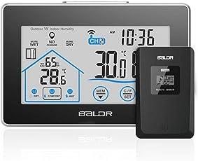Wetterstation mit 100m Wireless Außensensor Digital LCD Anzeige Touchscreen Wetterstation Innen Außen Temperatur/Luftfeuchtigkeit/Thermometer/Zeitanzeige/Batteriebetrieben