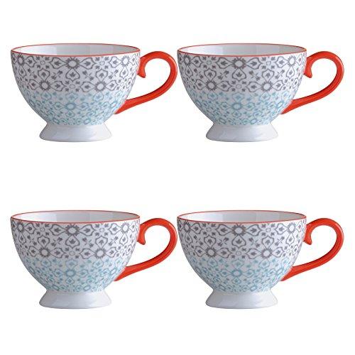 Bia Lot de 4 Jasmin Espresso Cups-Grey/Orange, Porcelaine, Multicolore, 11.5 x 9 x 6 cm