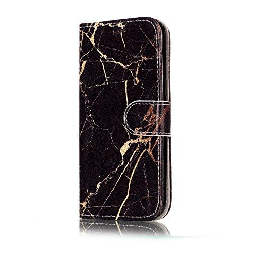 Samsung Galaxy A5 2017 Custoida in Pelle Portafoglio,Samsung Galaxy A5 2017 Cover Pu Wallet,KunyFond Lusso Moda Marmo Dipinto Leather Flip Protective Cover con Bella Modello Cover Custodia per Samsung Marmo in oro nero