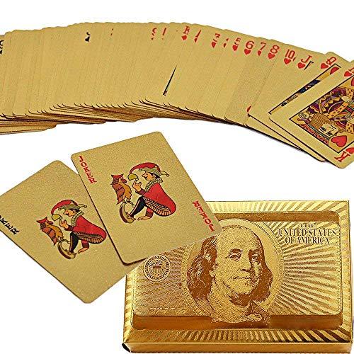 Poker Spielkarten Blattgold Wasserdicht, Plastik Pokerkarten mit 24K Goldfolie Poker,Aufwendig Aussehen - für Geschenk, Spielkarten-Spiele Zaubertricks in der Partei