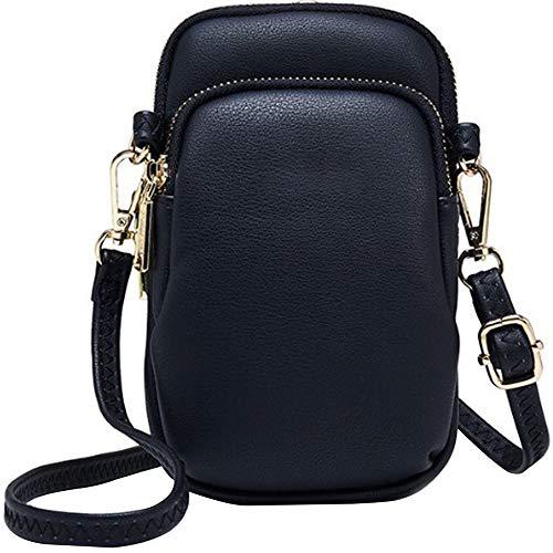 WANYIG Crossbody Tasche Damen PU Leder Umhängetasche Frauen Brieftasche Geldbörse Handy Mini-Tasche Kartenhalter Schulter Brieftasche Tasche (Schwarz)