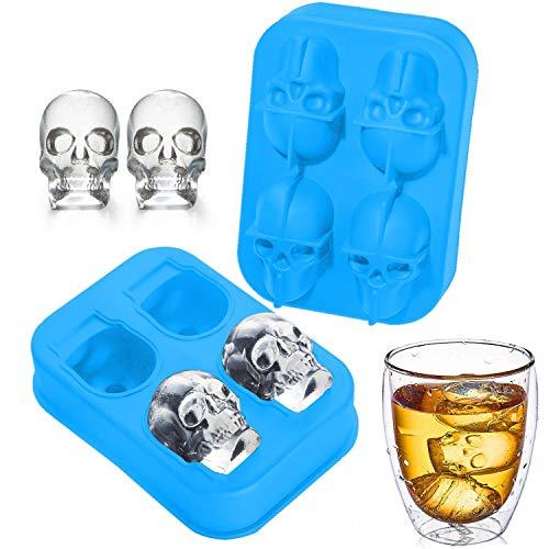 (SISIRIRI 3D Totenkopf Silikon Eiswürfelform Eiswürfelform Silikon Eiswürfelform Totenkopf für Whiskey Getränke Party Halloween Geschenke mit Deckel BPA frei Set von 2 (blau))