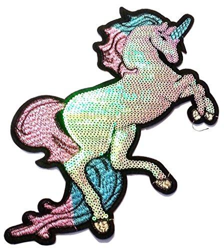 Parche bordado diseño unicornio lentejuelas, termoadhesivo