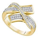 10Kt Gelb Gold Damen Rund 0,11Karat Diamant Crossover Bypass Band 1/4Karat