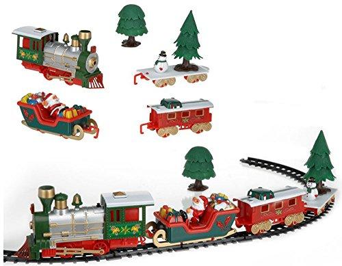 Vetrineinrete® trenino natalizio con luci e suoni realistico 22 pezzi decorazione per albero di natale treno a batterie gioco p30