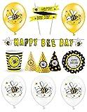 Feste Feiern Deko Maja Motto Party I 25 Teile Luftballon Hüte Teller Girlande Schwarz Gelb Bunt Mädchen Kinder Geburtstag
