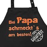 Bei PAPA schmeckt`s am besten! Garantiert! - Kochschürze, Latzschürze mit verstellbarem Nackenband und Seitentasche - Geschenk Papa Vater Mann